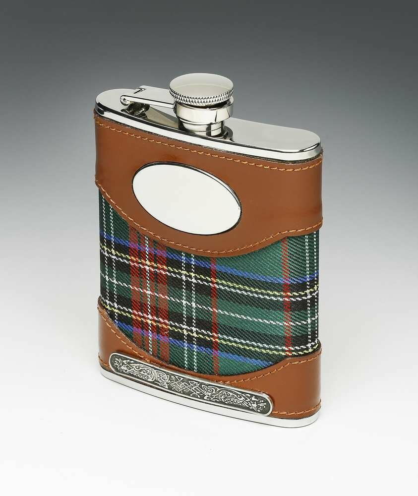 Mullingar Pewter Leather Bound Whiskey Tartan Flask with Pewter Design (6oz)