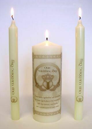Gold Claddagh Wedding Unity Candle Set