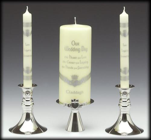 Mullingar Pewter Unity Candle Holders for Wedding- Claddagh