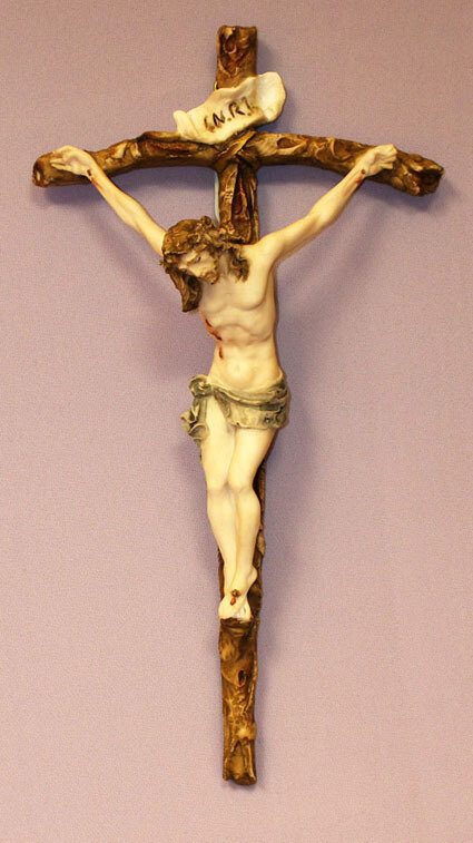 Crucifix in hand-painted alabaster corpus and cross, 11.5""