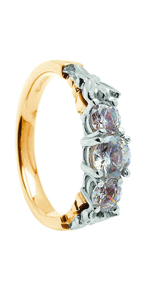 14kt Gold Three Stone Diamond 2x.25cts+1x.50cts Engagement Ring