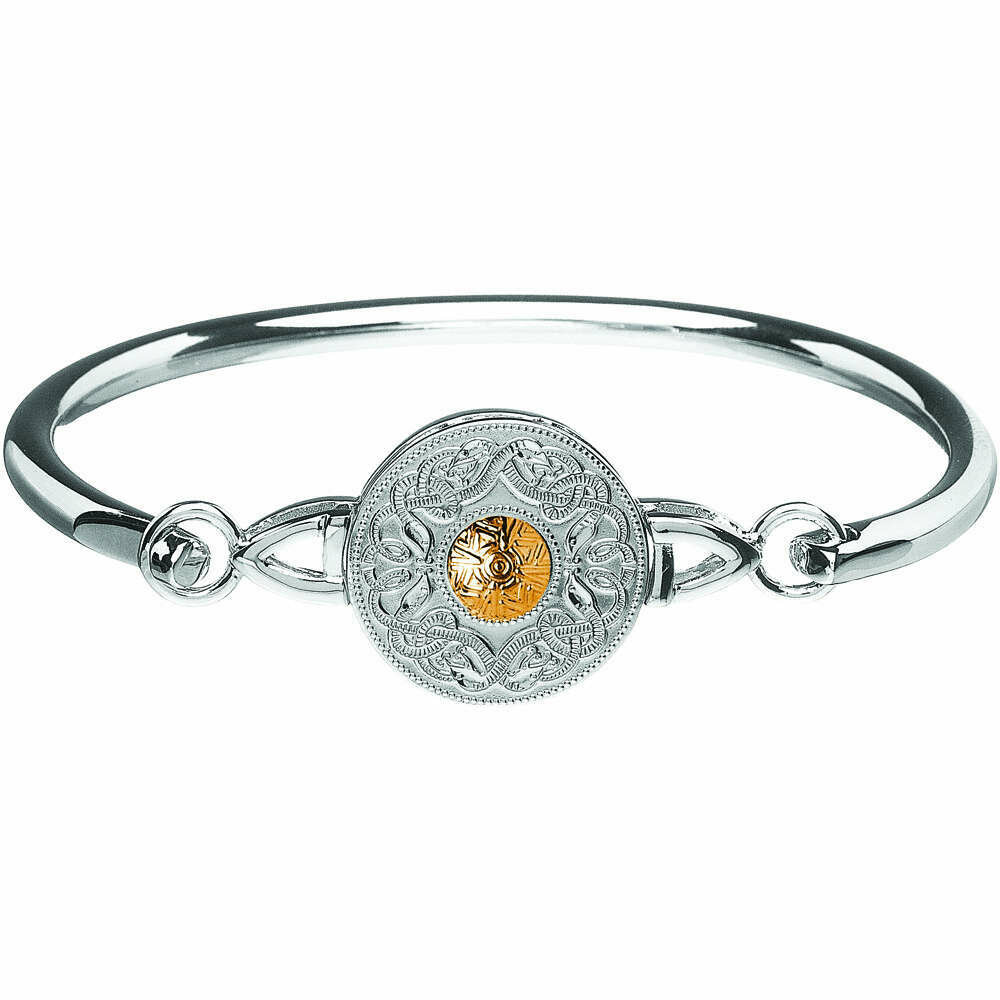 Sterling Silver Celtic Warrior® Shield Wire Bangle with 18K Gold Bead- Medium