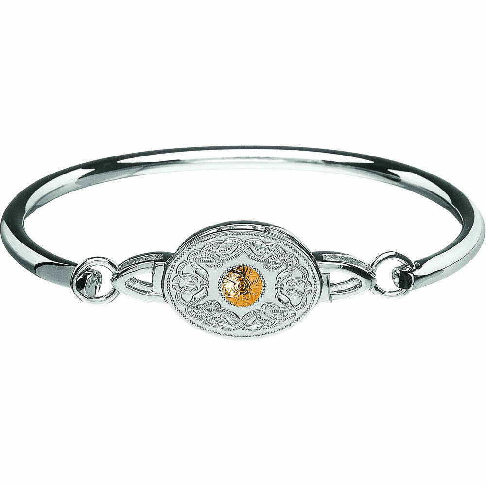 Sterling Silver Oval Celtic Warrior® Shield Wire Bangle with 18K Gold Bead