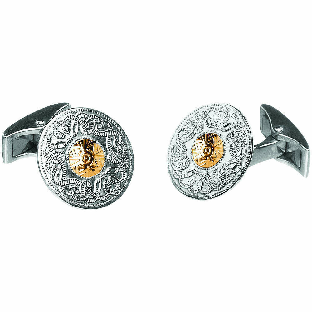 Sterling Silver Celtic Warrior® Shield Cufflinks with 18K Gold Bead- Small