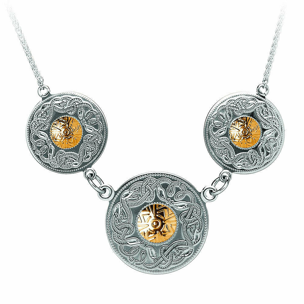 """Sterling Silver Celtic Warrior® Shield Triple Necklace with 18K Gold Beads & 18"""""""