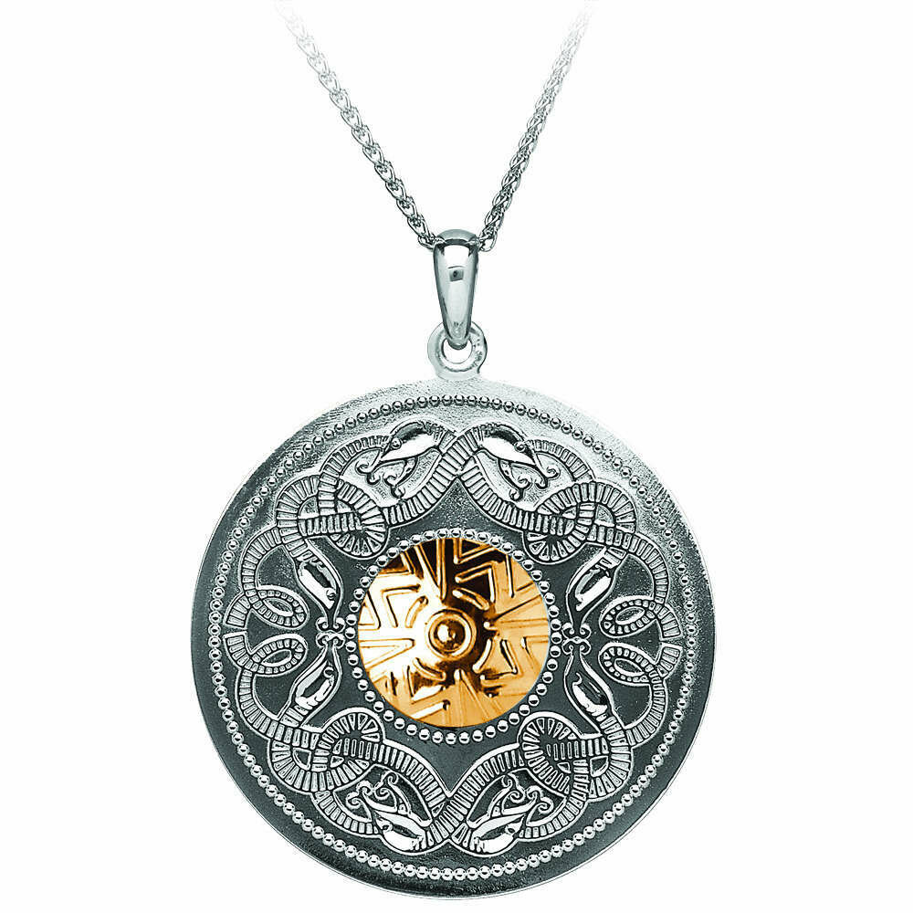 """Sterling Silver Celtic Warrior® Shield Pendant with 18K Gold Bead- XL & 22"""" Sterling Silver Chain"""