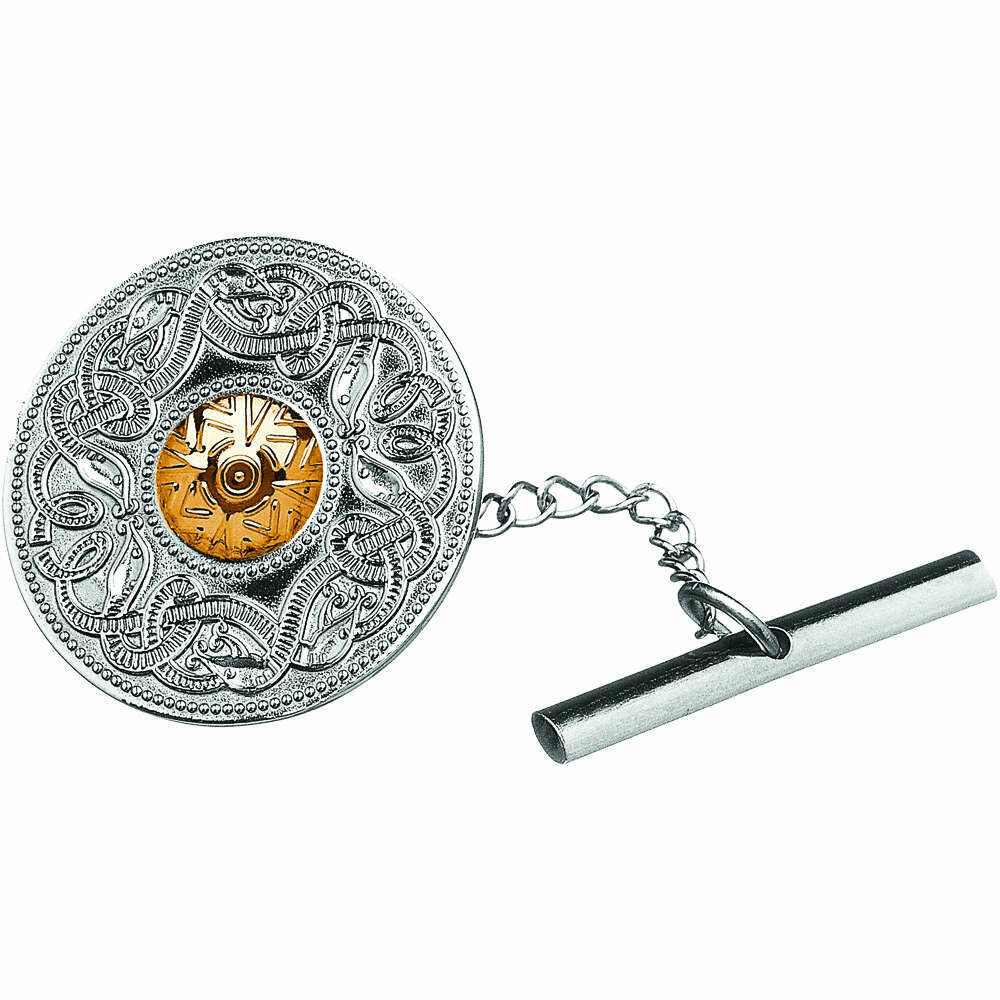 Sterling Silver Celtic Warrior® Shield Tie Tac with 18K Gold Bead- Large