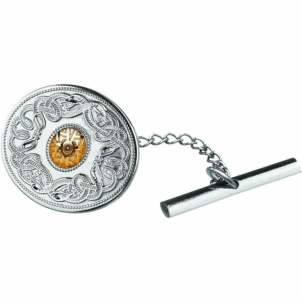 Sterling Silver Celtic Warrior® Shield Tie Tac with 18K Gold Bead- Oval