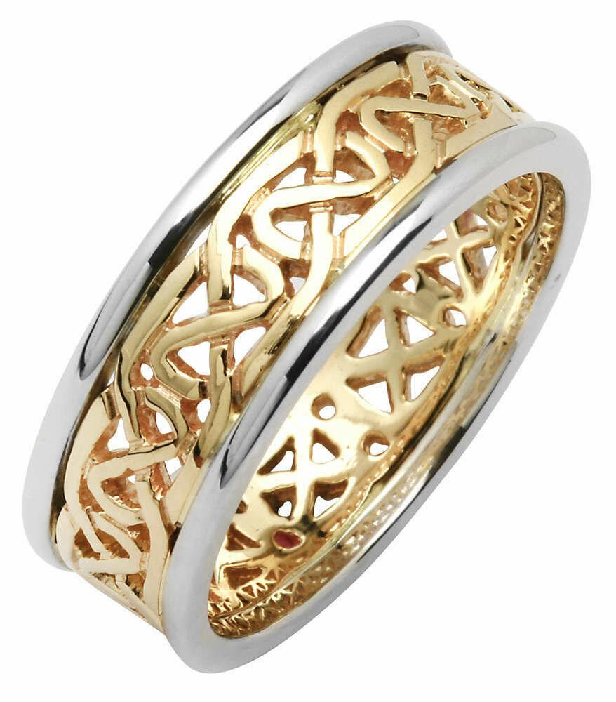 Mens 14kt Gold Two Tone Narrow Pierced Trinity Knot Wedding Band (White Edge)