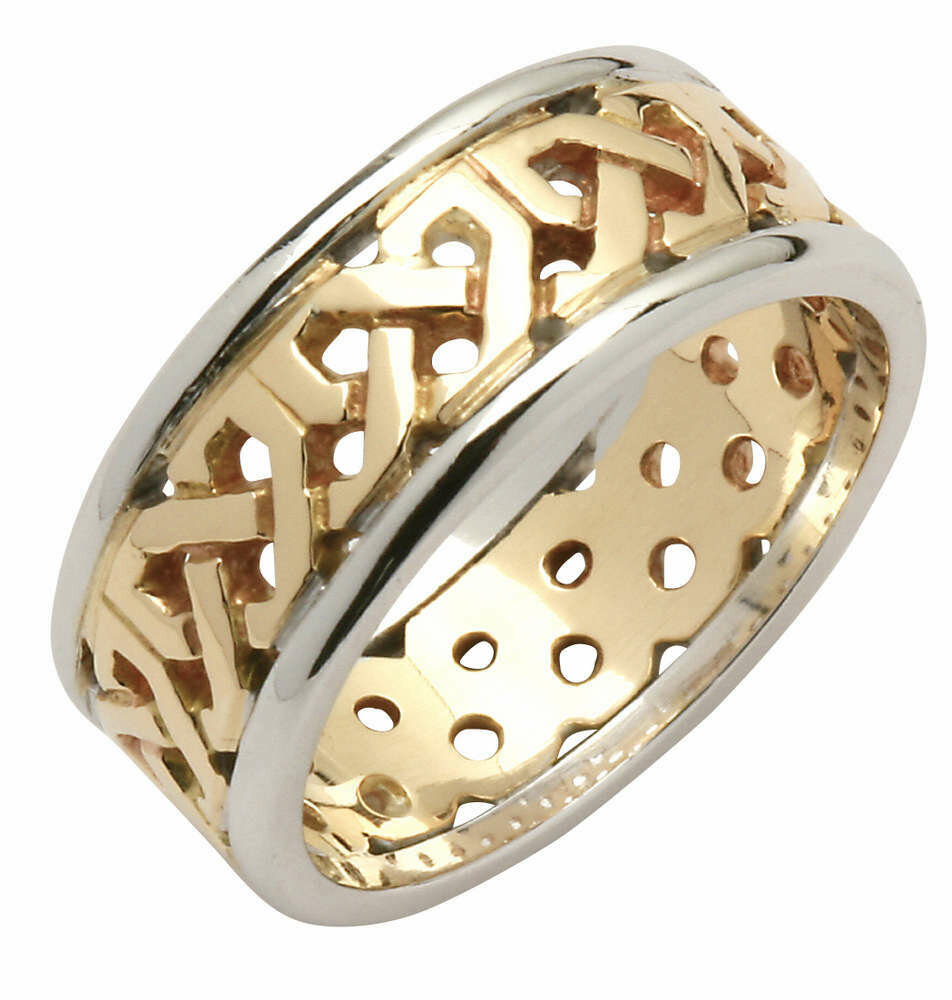 Mens 14kt Gold Contemporary Two-Tone Trinity Knot Band (White Edge)