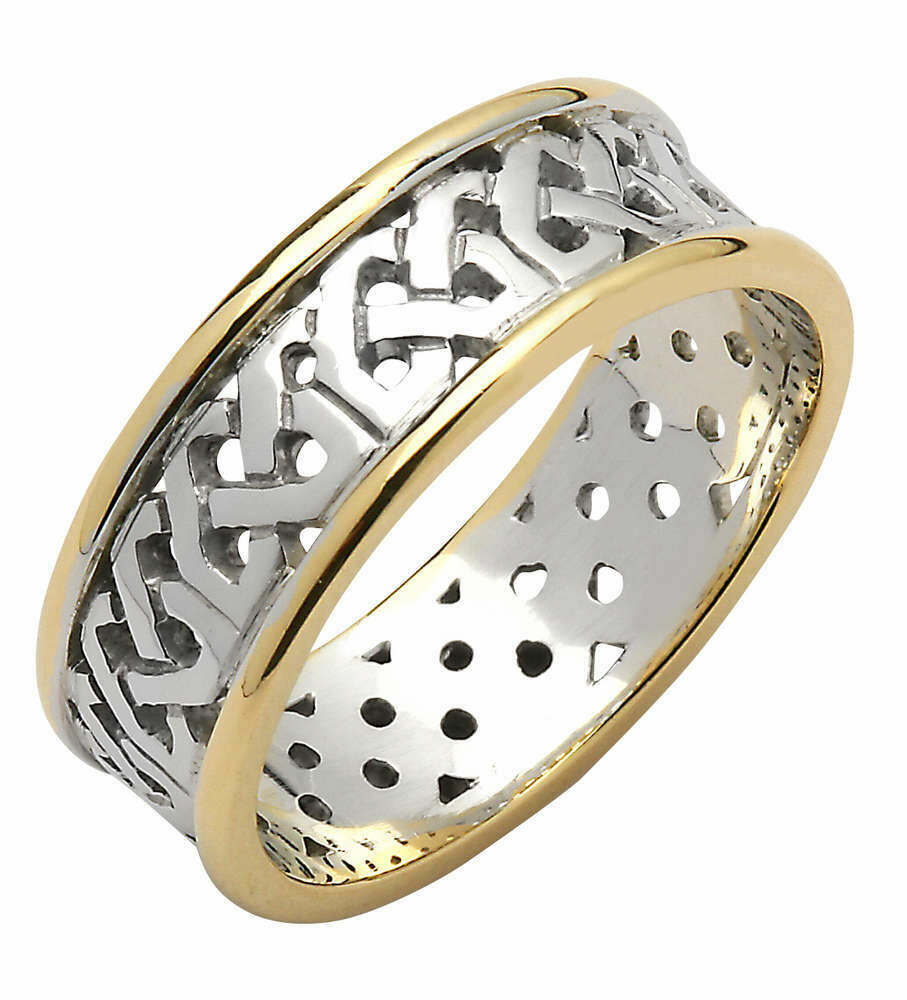 Mens 14kt Gold Contemporary Two-Tone Trinity Knot Band (Yellow Edge)
