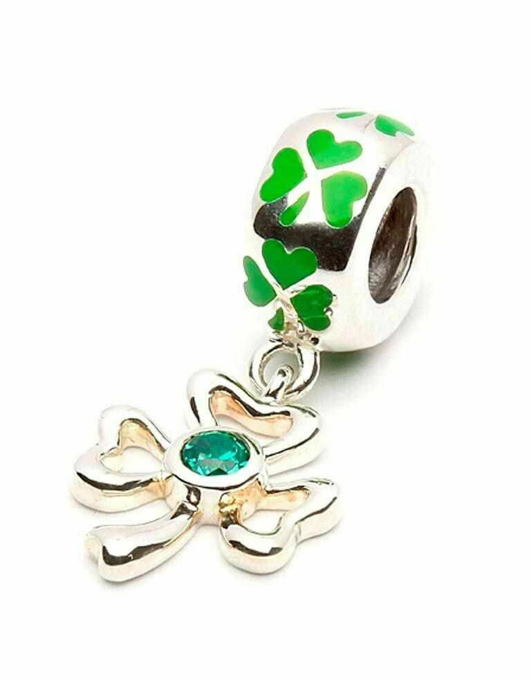 Sterling Silver Enamel Shamrock Drop