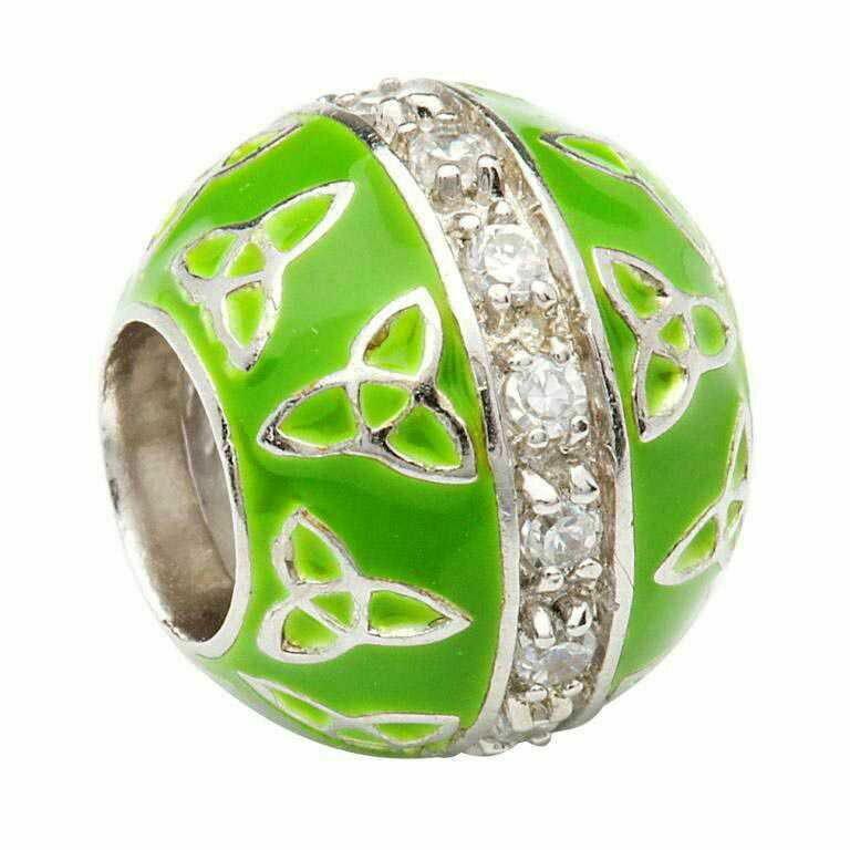 Trinity Knot- Green Enamel & CZ's
