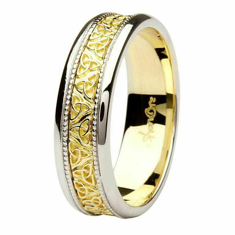 Celtic Trinity Knot Two Tone 14kt Gold Gents Wedding Ring (White Edge)
