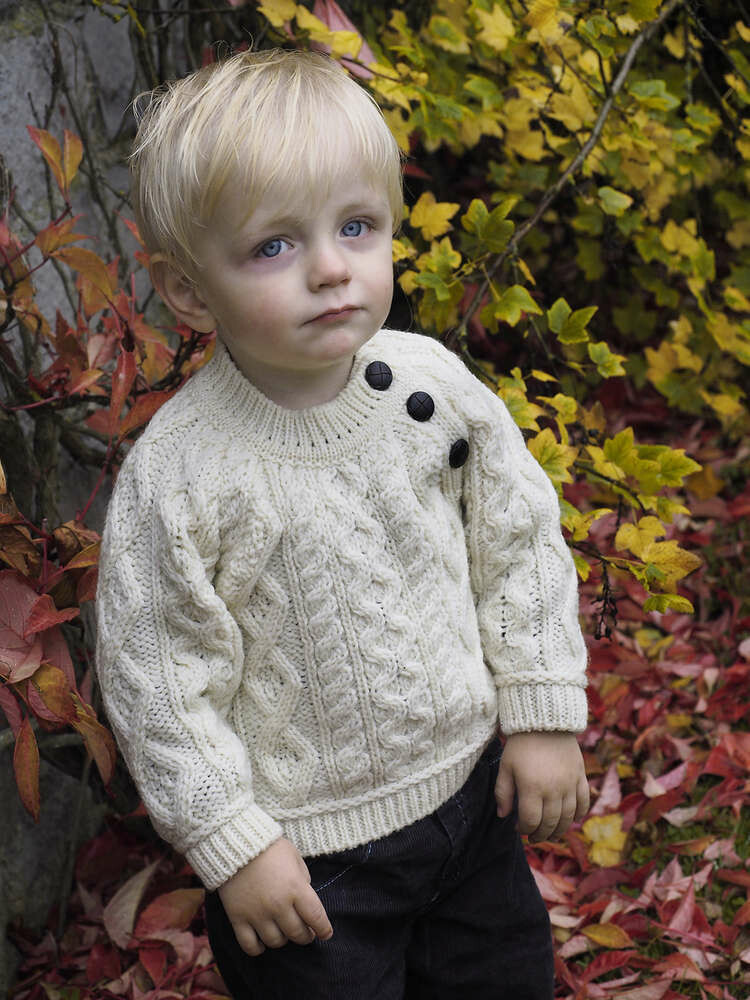 Baby Crew Neck Aran Wool Sweater