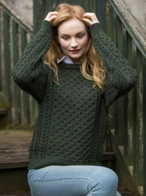 Unisex Crew Neck Aran Wool Sweater- Army Green