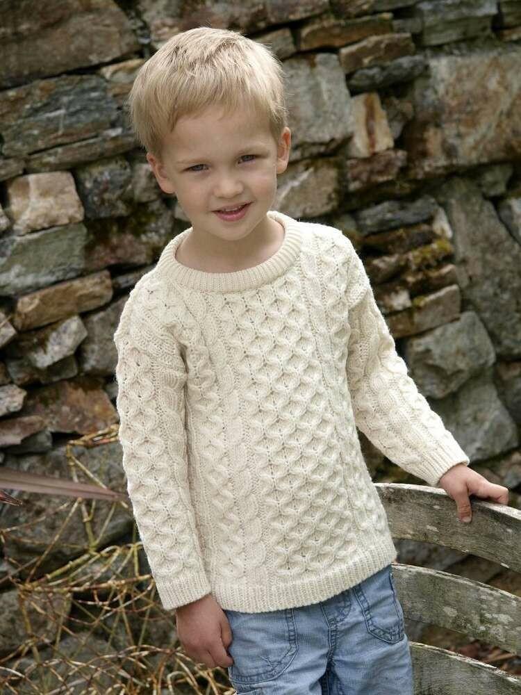 Child's Crew Neck Aran Wool Sweater