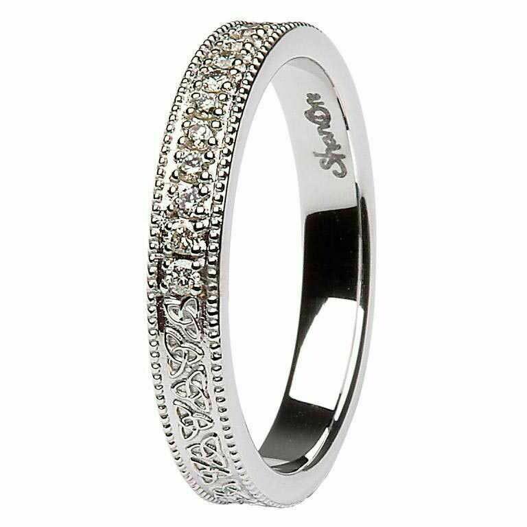 Celtic Trinity Knot Diamond Set 14kt White Gold Wedding Ring
