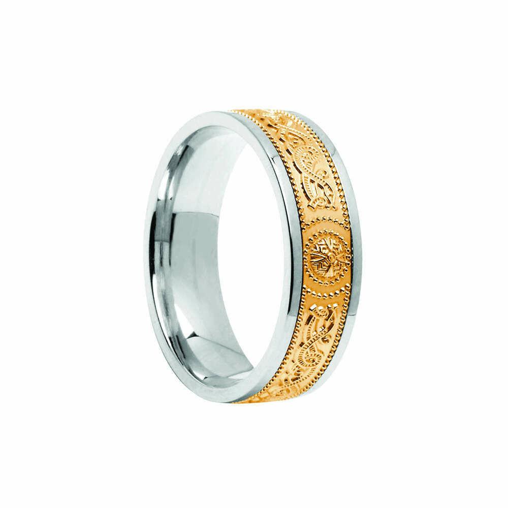 Mens 10kt Gold Comfort Fit Signature Warrior Shield Wedding Band