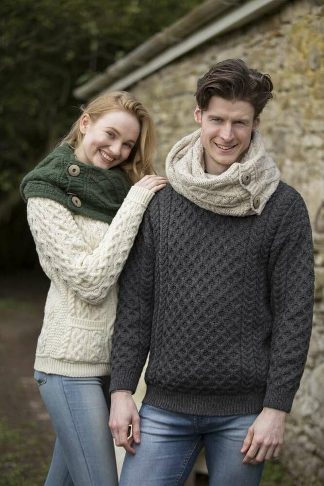 Unisex Crew Neck Aran Wool Sweater- Charcoal