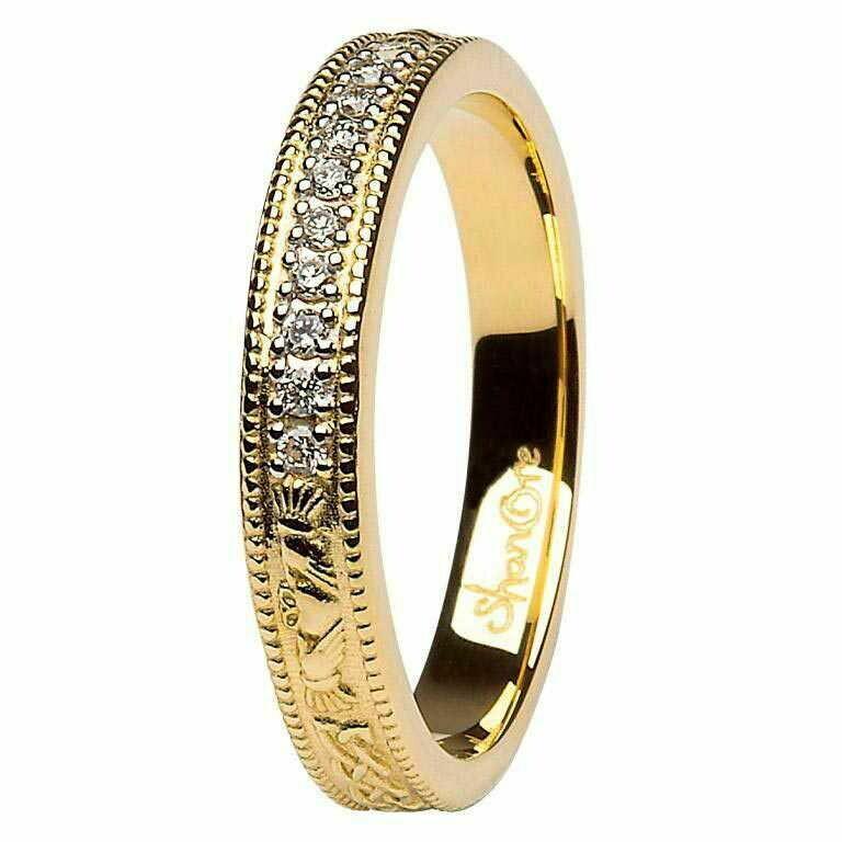 Claddagh Celtic Diamond Set 14kt Yellow Gold Wedding Ring