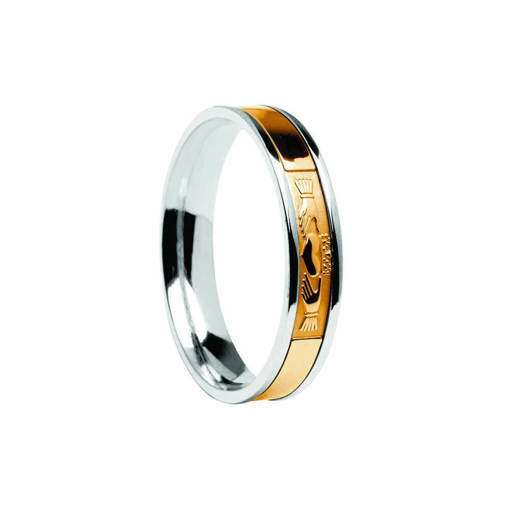 Mens 10kt Gold Signature Contemporary Claddagh Wedding Band