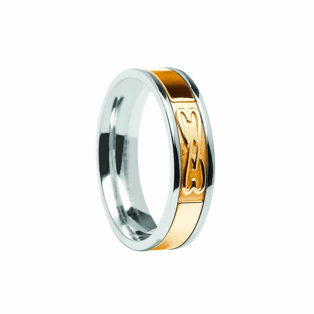 Mens 10kt Gold Signature Entwined Hearts Wedding Band