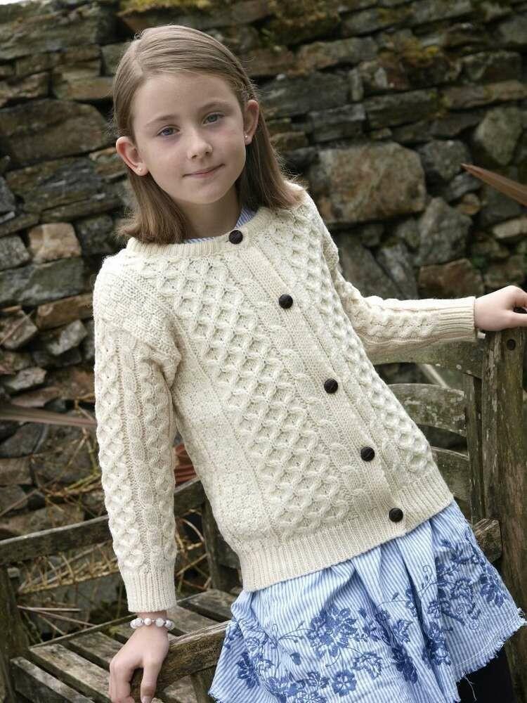 Child's Cardigan Aran Wool Sweater