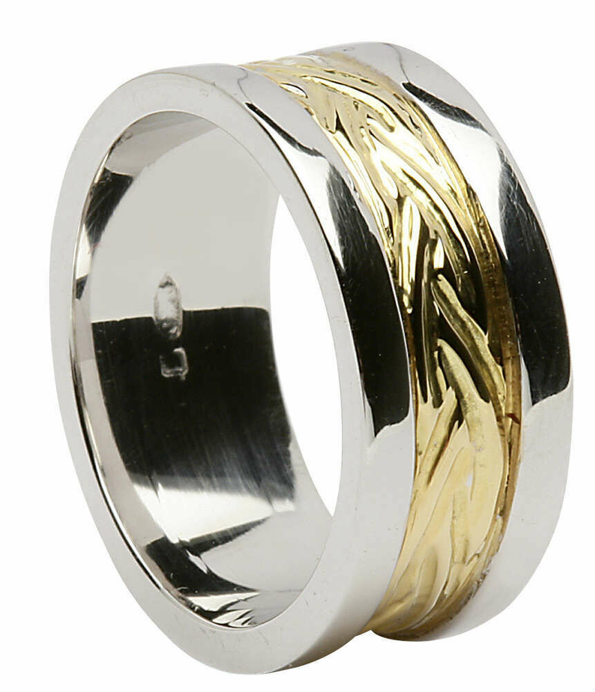Ladies 18kt Gold Yellow Narrow Flat Livia with Wide White Profile Sides