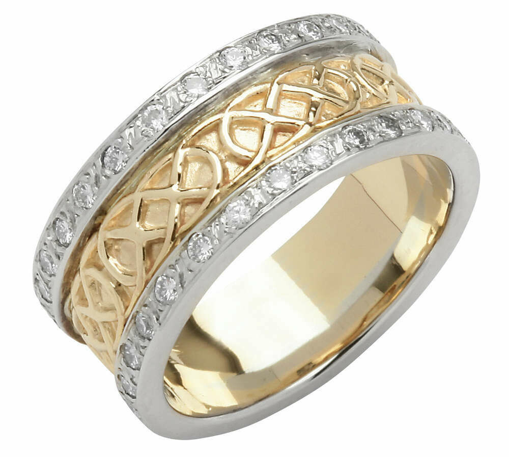 Ladies 14kt Gold Pave Set Yellow Trinity Knot Band with White Profile Sides