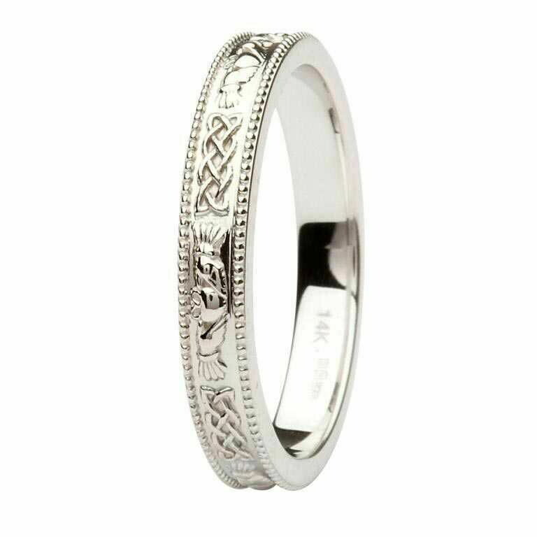 Claddagh and Celtic 14kt White Gold Wedding Ring