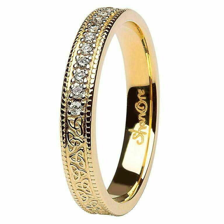Celtic Trinity Knot Diamond Set 14kt Yellow Gold Wedding Ring