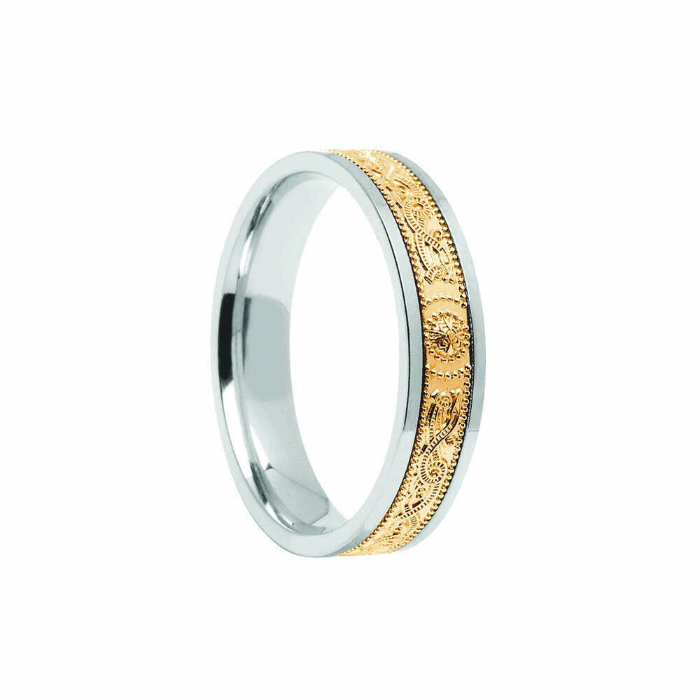 Ladies 10kt Gold Comfort Fit Narrow Signature Warrior Shield Wedding Band
