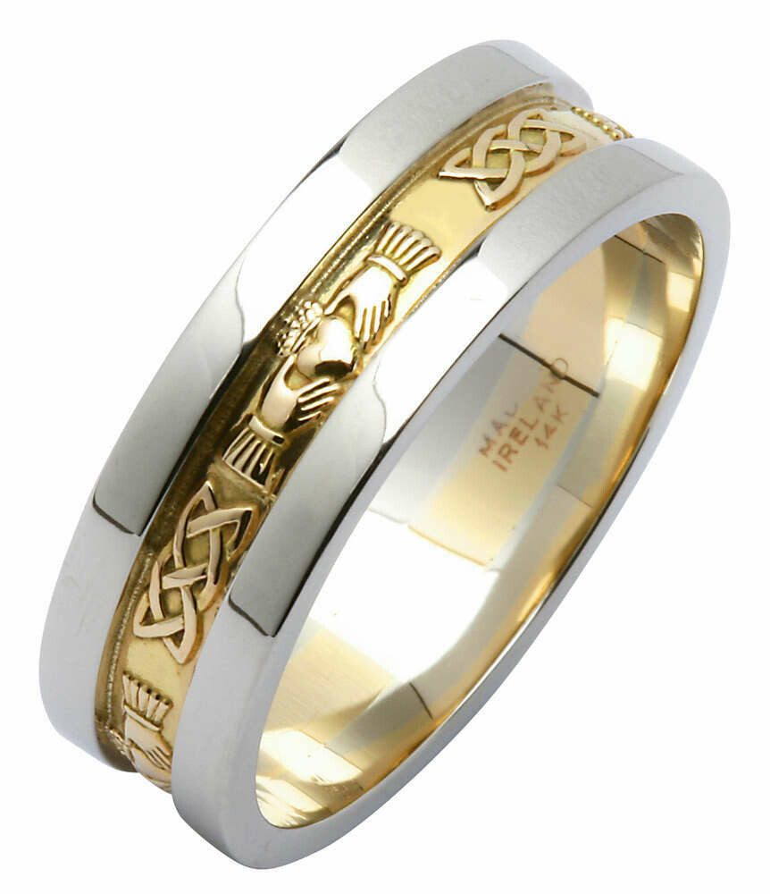 Mens 14kt Gold Yellow Corrib Claddagh with White Wide Sides