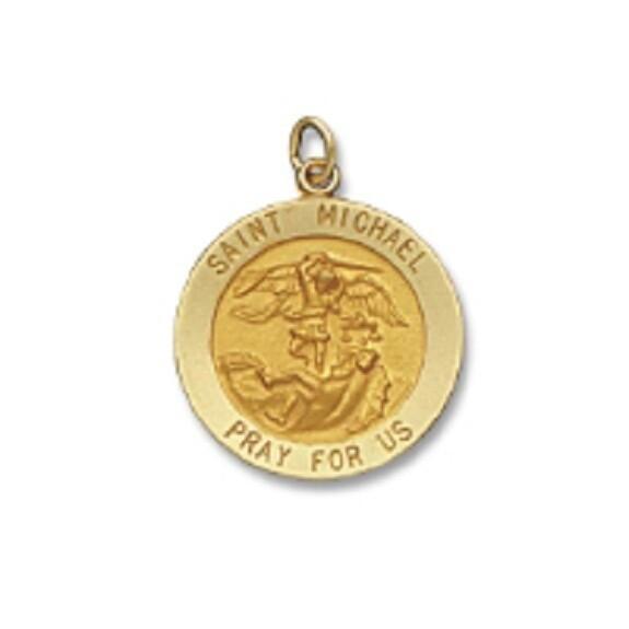 "7/8"" Diameter 14kt Solid Gold Medal of Your Choice"