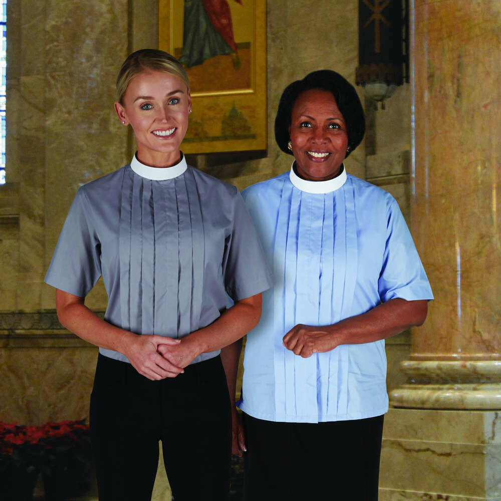 R.J. Toomey™ Woman's Black Neckband Short Sleeve Blouse