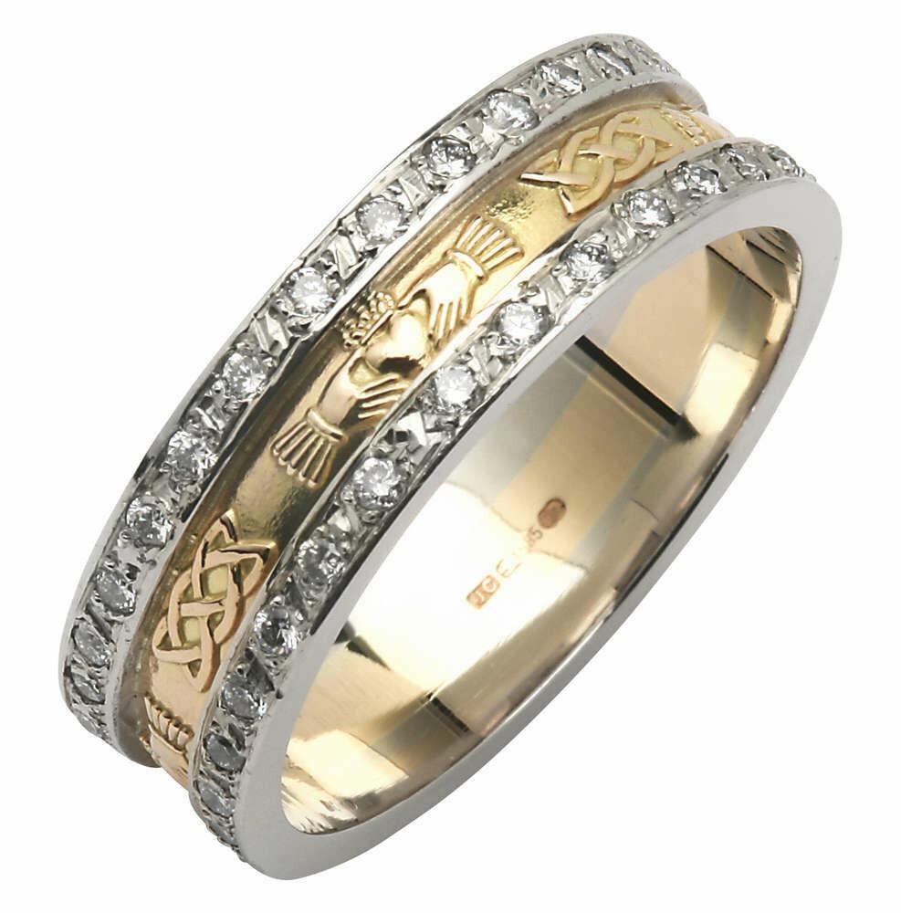 Ladies 14kt Yellow Gold Corrib Claddagh Pavé Diamond Set with White Edges