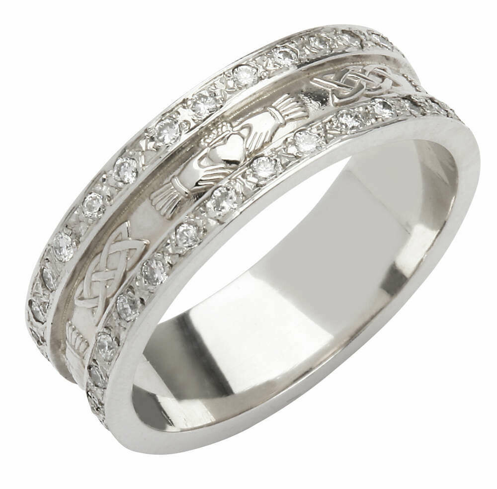 Ladies 14kt White Gold Corrib Claddagh Pavé Diamond Set with White Edges