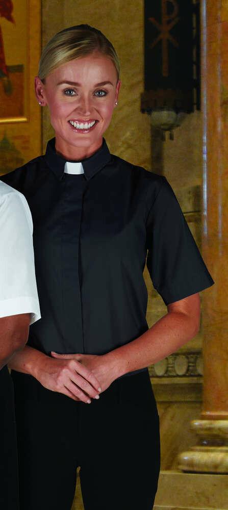 R.J. Toomey™ Women's Black Tab Collar Short Sleeve Blouse