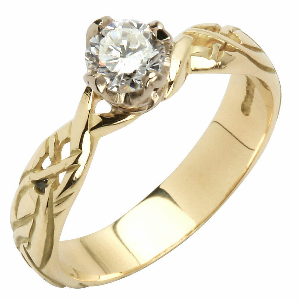 18kt Yellow Gold Livia Solitaire Round Setting with One Brillant Cut Diamond