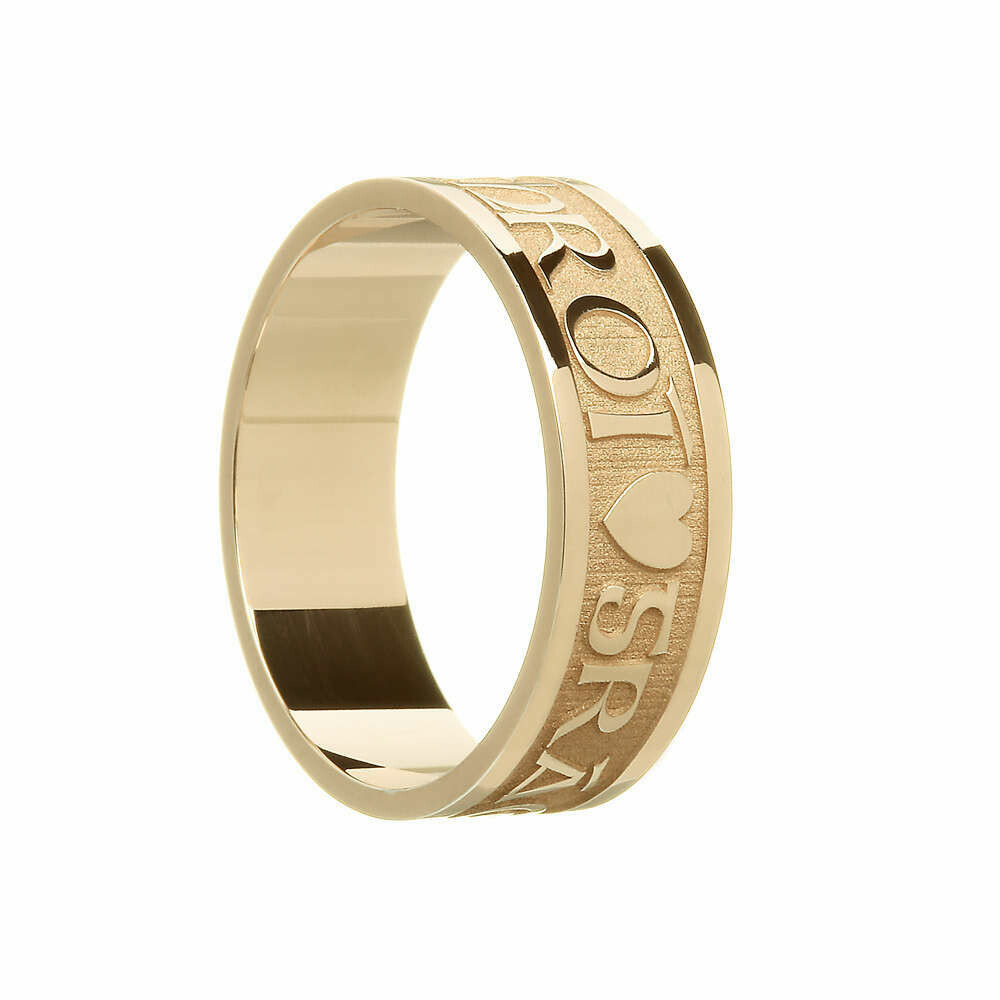 """Mens 10kt Gold """"Gra Geal Mo Chroi"""" (Bright, Love of My Life) Wedding Band"""