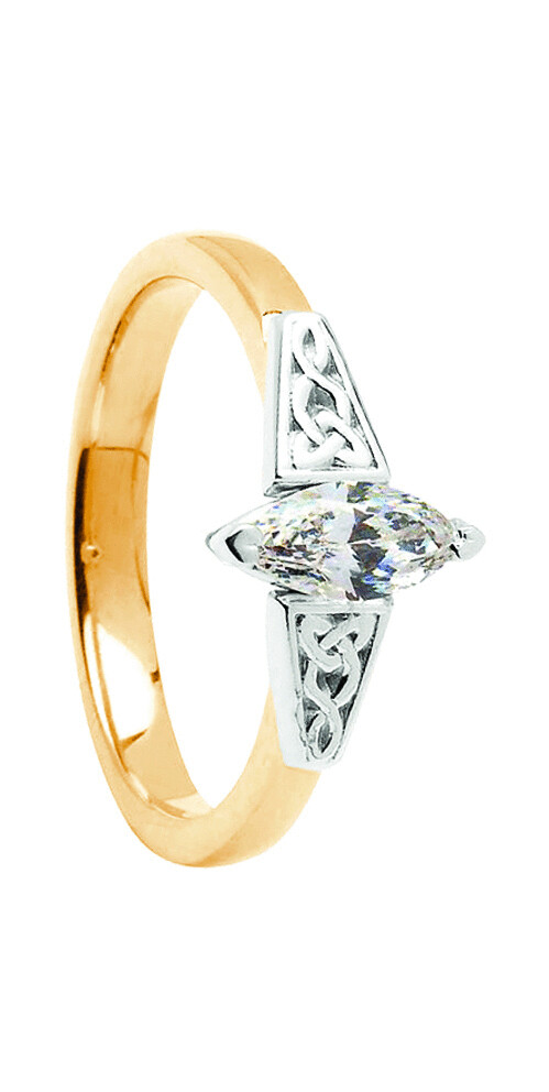 14kt Gold .50cts Marquise Trinity Diamond Ring