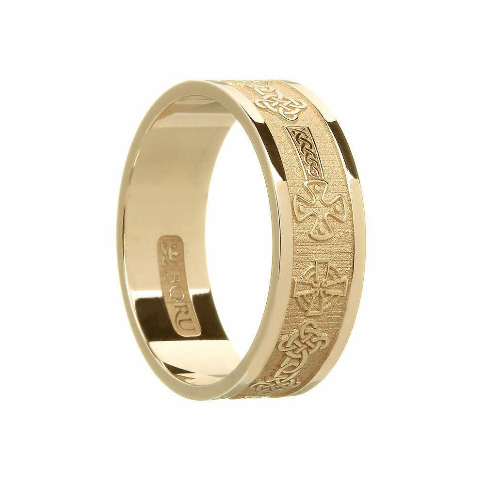 Mens 10kt Gold Celtic Cross Wedding Band