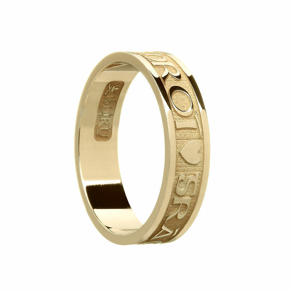"""Ladies 10kt Gold """"Gra Geal Mo Chroi"""" (Bright, Love of My Heart) Wedding Band"""