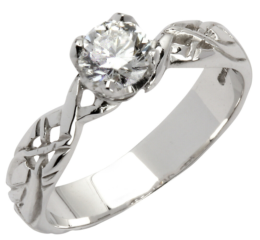 18kt White Gold Livia Solitaire Round Setting with One Brilliant Cut Diamond