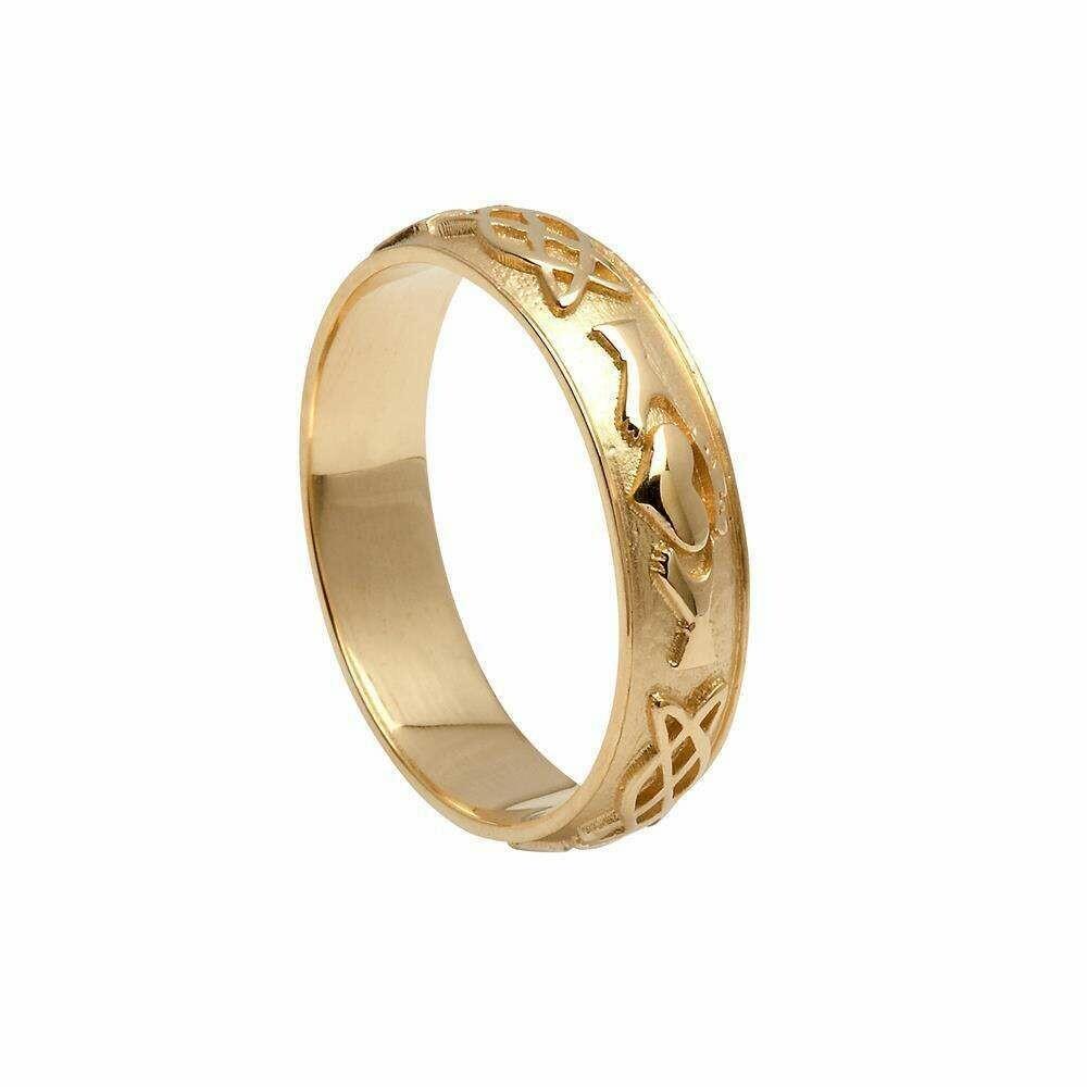 Mens 10kt Gold Claddagh Celtic Knot Wedding Band