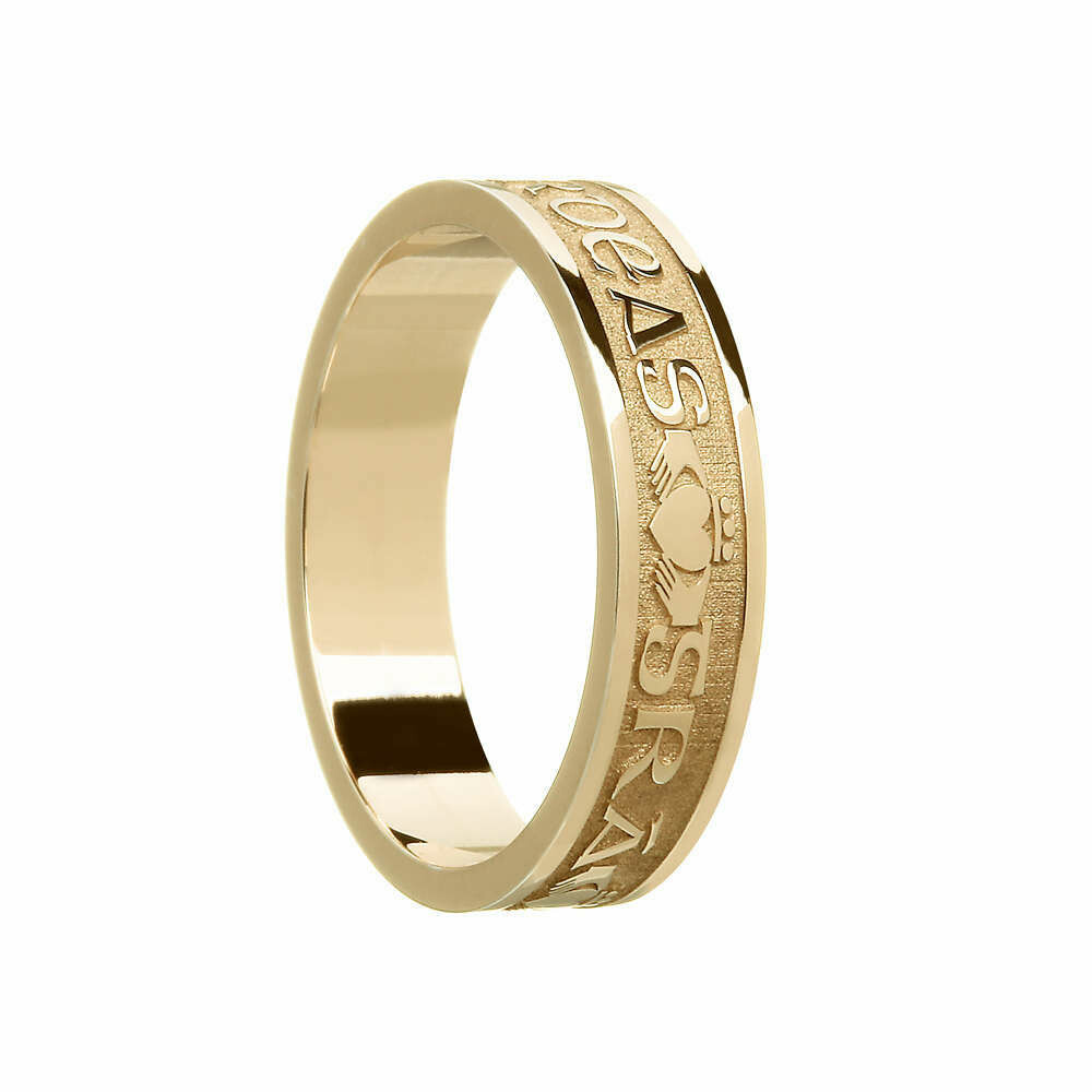 "Ladies 10kt Gold ""Gra Dilseacht Cairdeas"" (Love, Loyalty, Friendship) Wedding Band"