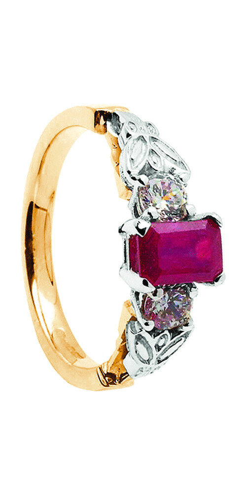 14kt Gold Ruby + 2 x .16cts Diamond Engagement Ring