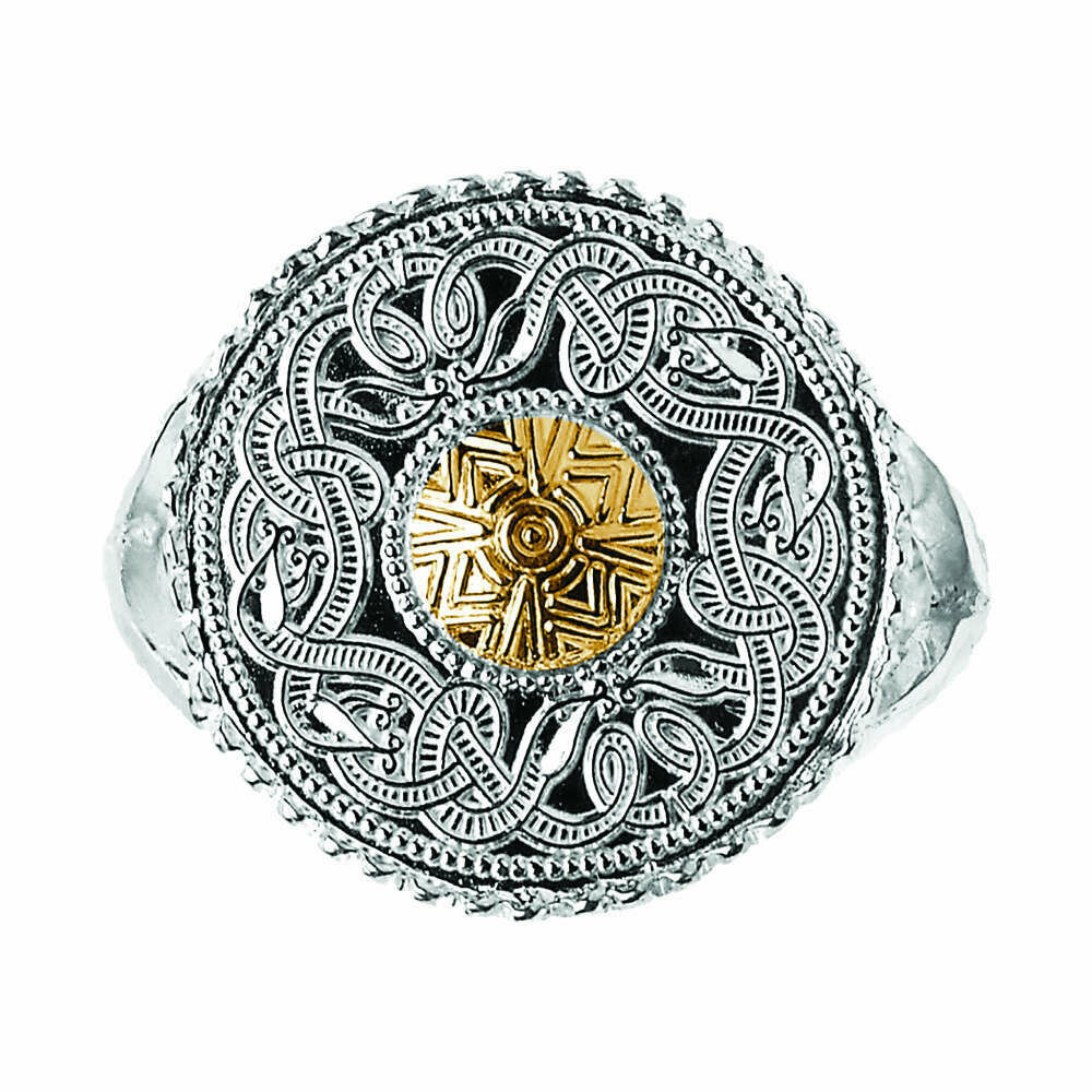 Celtic Warrior® Sterling Silver 18K Bead Signet Ring