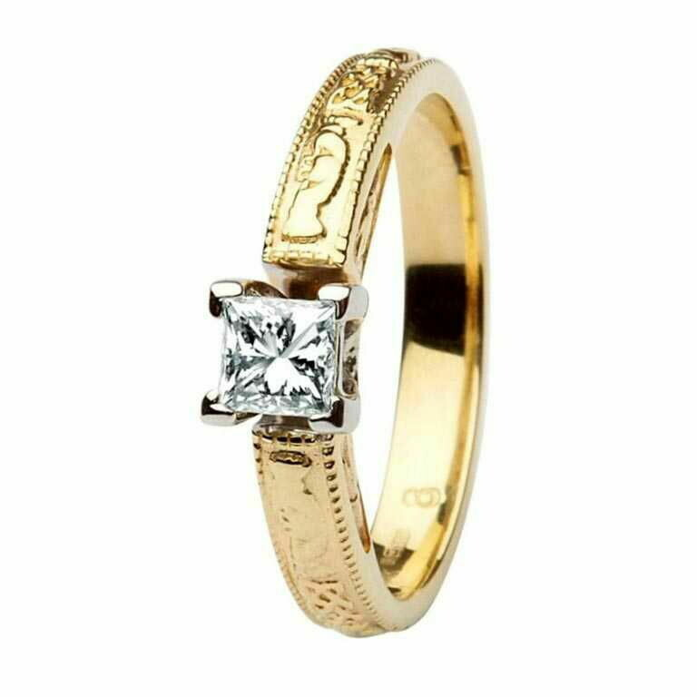 Claddagh Celtic Diamond Ring- 14kt Yellow and White Gold, Solitaire Princess Cut Diamond